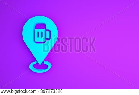 Blue Alcohol Or Beer Bar Location Icon Isolated On Purple Background. Symbol Of Drinking, Pub, Club,