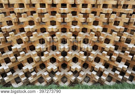 Modern Interlocking Wooden Facade Structure For Eco Friendly Buildings - Furniture Production Concep