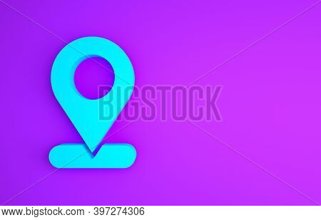Blue Map Pin Icon Isolated On Purple Background. Navigation, Pointer, Location, Map, Gps, Direction,