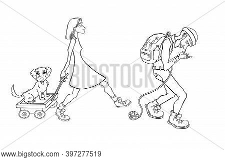 Cartoon Family Camping. People Carry Camping Illustration