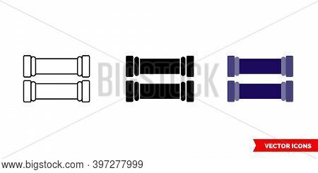 Bicycle Grips Icon Of 3 Types Color, Black And White, Outline. Isolated Vector Sign Symbol.