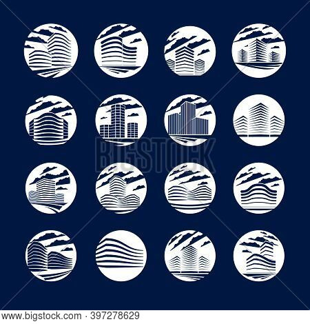 Office Building Round Shape Icons Or Logos Set, Modern Architecture Vector Illustrations Collection.