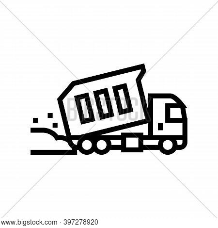 Truck Pouring Building Materials Line Icon Vector. Truck Pouring Building Materials Sign. Isolated C