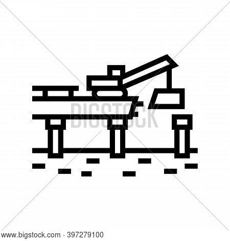 Bridge Building Line Icon Vector. Bridge Building Sign. Isolated Contour Symbol Black Illustration
