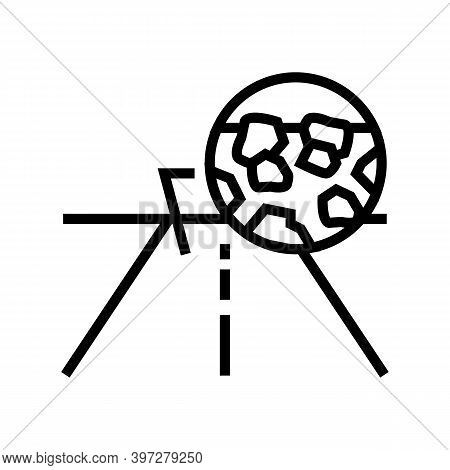Gravel Crashed Stone Road Line Icon Vector. Gravel Crashed Stone Road Sign. Isolated Contour Symbol