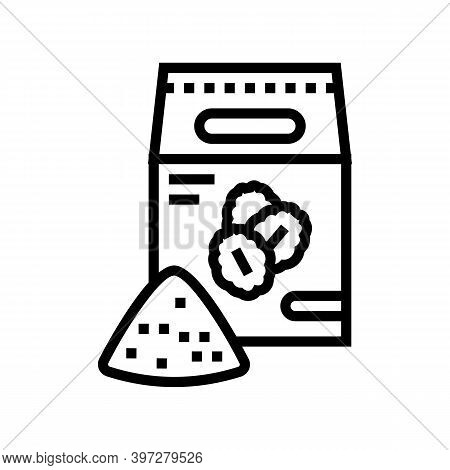 Flour Oat Bag Line Icon Vector. Flour Oat Bag Sign. Isolated Contour Symbol Black Illustration