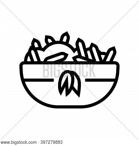 Cooked Oatmeal Breakfast Line Icon Vector. Cooked Oatmeal Breakfast Sign. Isolated Contour Symbol Bl