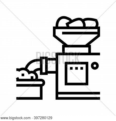Grinding Meat Device Line Icon Vector. Grinding Meat Device Sign. Isolated Contour Symbol Black Illu