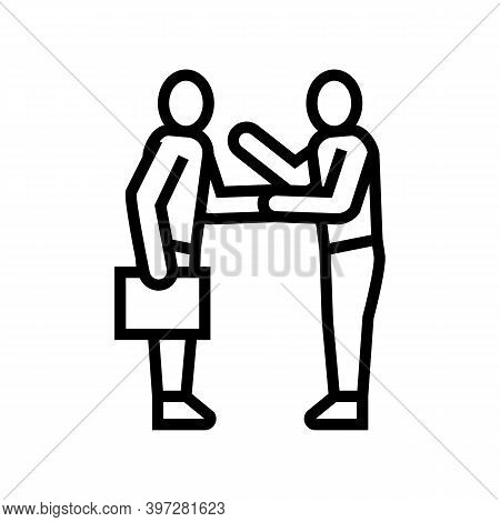 Businesspeople Greeting And Discussing Line Icon Vector. Businesspeople Greeting And Discussing Sign