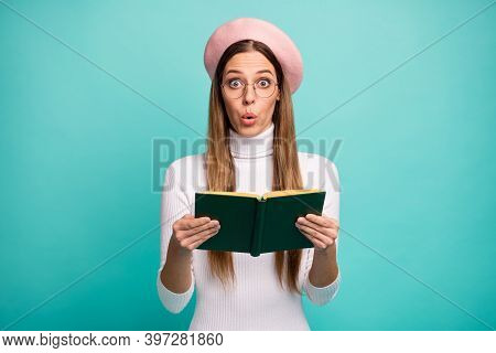Photo Of Shocked Lady Hold Love Story Book Novel Plot Open Mouth Unexpected Final Ending Wear Specs