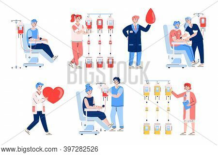 Blood Donation. Set Of Characters Of Donors Sitting In Medical Chairs And Doctors Or Nurses Holding