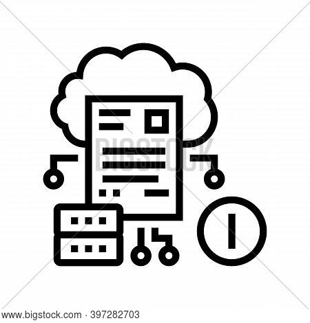 Cloud Storage Incident Line Icon Vector. Cloud Storage Incident Sign. Isolated Contour Symbol Black
