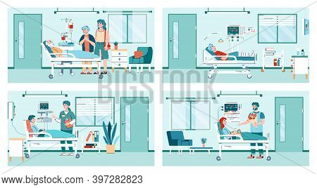 People In Hospital Room Interior - Cartoon Set Of Nurse And Visitors By Patient With Health Problem