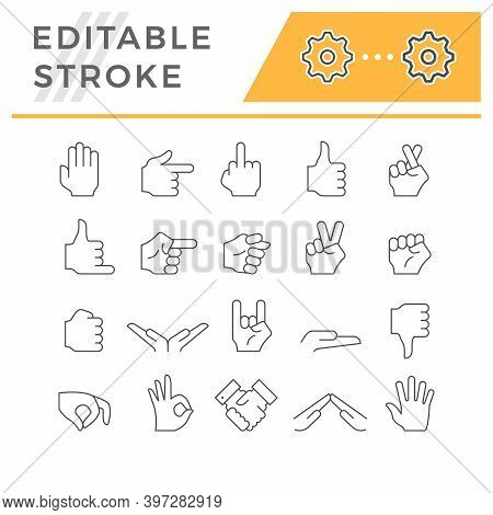 Set Line Icons Of Hand Gesture Isolated On White. Handshake, Crossed Fingers, Thumb Up And Down, Vic