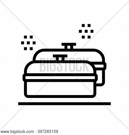 Pans Kitchen Ware For Cooking Line Icon Vector. Pans Kitchen Ware For Cooking Sign. Isolated Contour