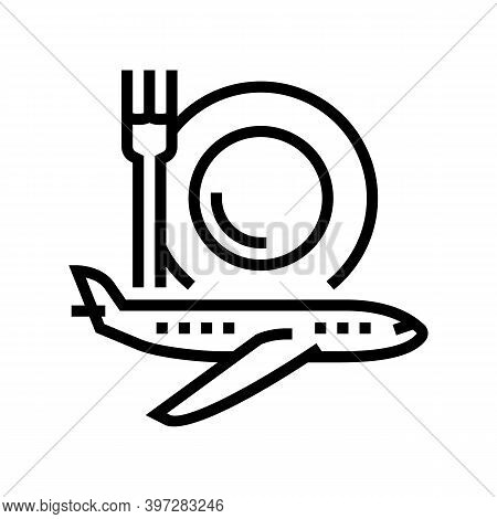 Airplane Catering Line Icon Vector. Airplane Catering Sign. Isolated Contour Symbol Black Illustrati