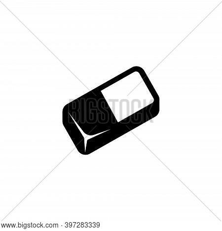 Eraser Rubber, Erasing Pencil Tool. Flat Vector Icon Illustration. Simple Black Symbol On White Back