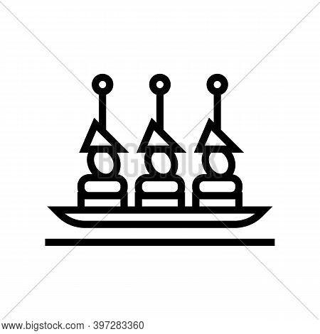 Canapes Snack Line Icon Vector. Canapes Snack Sign. Isolated Contour Symbol Black Illustration