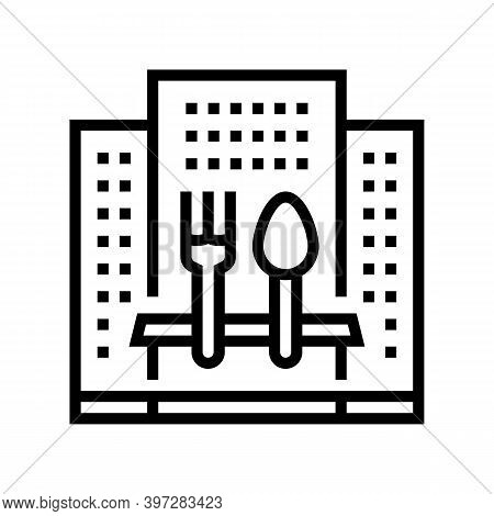 Hotel Catering Service Line Icon Vector. Hotel Catering Service Sign. Isolated Contour Symbol Black