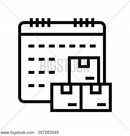 Date And Time Supply Line Icon Vector. Date And Time Supply Sign. Isolated Contour Symbol Black Illu