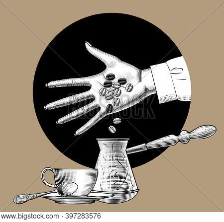 Hand pours coffee beans into a cezve near a cup with a spoon. Vintage engraving stylized drawing.