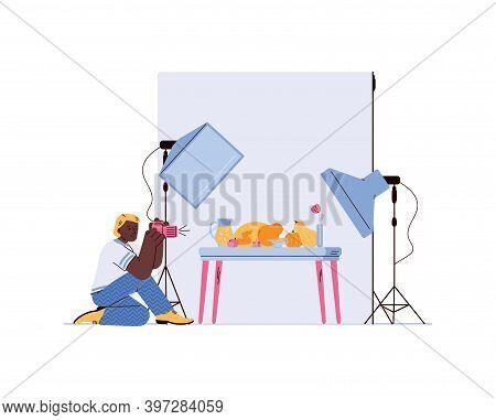 Professional Product Or Magazine Photographer Making Shoot Of Food, Flat Cartoon Vector Illustration