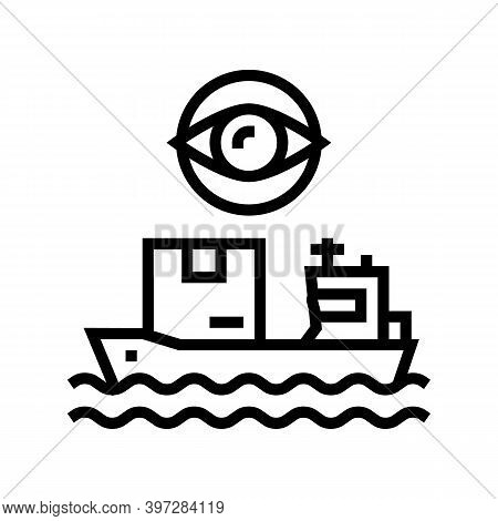 Ship Shipment Management And Control Line Icon Vector. Ship Shipment Management And Control Sign. Is
