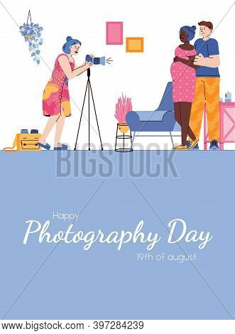 Photography Day Card Or Poster With Photographer Leading Photo Session Of Married Couple, Cartoon Fl