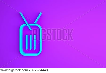 Blue Military Dog Tag Icon Isolated On Purple Background. Identity Tag Icon. Army Sign. Minimalism C