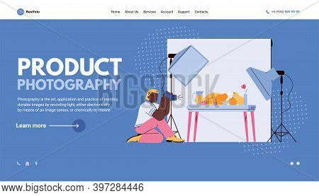 Website Page Template For Professional Product Or Magazine Photography With Photographer Making Shoo