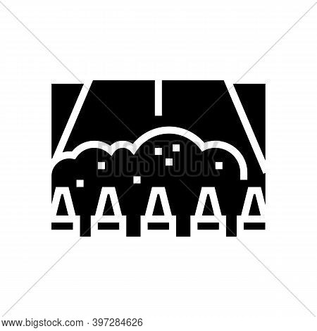 Closed Road For Reconstruction Glyph Icon Vector. Closed Road For Reconstruction Sign. Isolated Cont