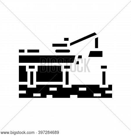 Bridge Building Glyph Icon Vector. Bridge Building Sign. Isolated Contour Symbol Black Illustration
