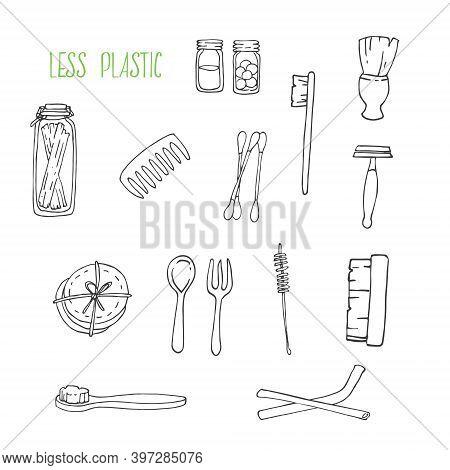 Hand Drawn Vector Illustration Of Zero Waste Concept. Eco Outline Clipart For Print, Card, Textil De