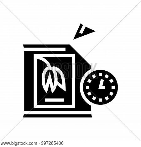 Shelf Life Of Oatmeal When Opened Bag Glyph Icon Vector. Shelf Life Of Oatmeal When Opened Bag Sign.