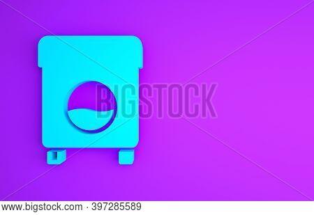 Blue Washer Icon Isolated On Purple Background. Washing Machine Icon. Clothes Washer - Laundry Machi