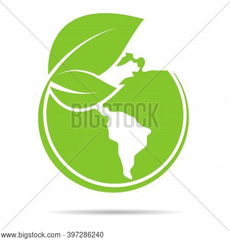 Earth With Leaves Green Vector Illustration. Ecology World Symbol. Eco Flat World Icon For Graphic D