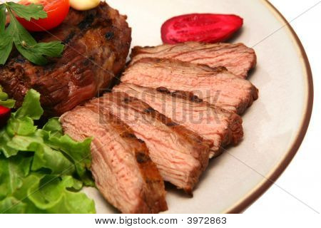 Grilled Meat Steak On Dish
