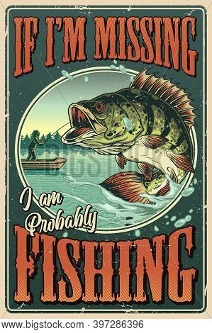 Vintage Colorful Fishing Poster With Inscriptions Big Bass Fish And Fisherman On Boat Vector Illustr
