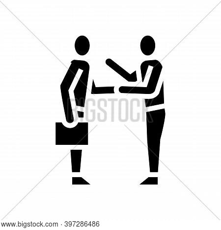 Businesspeople Greeting And Discussing Glyph Icon Vector. Businesspeople Greeting And Discussing Sig