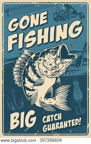 Fishing Vintage Monochrome Poster With Inscriptions And Big Perch On Fishing Rod Lure Float And Hook