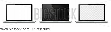 Set Of Realistic Laptop With Blank Screen. White, Black And Transparent Empty Modern Screen. Blank D