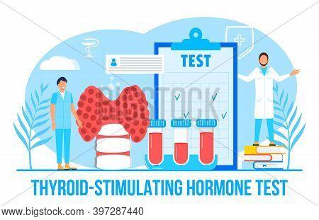 Thyroid-stimulating Hormone Test Concept Vector For Medical Website. Hypothyroidism Concept Vector.