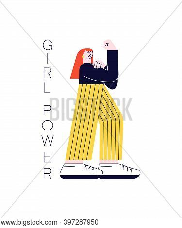 Confident Strong Caucasian Woman Raised Her Hand With Fist. We Can Do And Girl Power. Vector Illustr