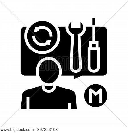 Repairman Master Speak About Tools Glyph Icon Vector. Repairman Master Speak About Tools Sign. Isola