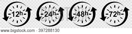 Clock With Arrow Circle Vector Icon Set. Work Time. Delivery Service Time Icons. Time Symbol Isolate