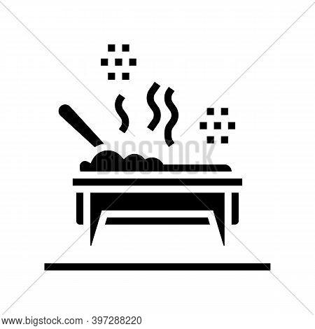 Cooked Meal In Catering Dish Glyph Icon Vector. Cooked Meal In Catering Dish Sign. Isolated Contour
