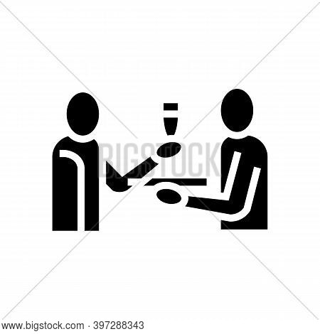 Waiter Offering Drinks Glyph Icon Vector. Waiter Offering Drinks Sign. Isolated Contour Symbol Black