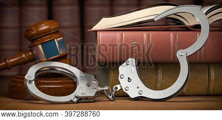 Criminal law and justice concept. Judge gavel, handcuffs and books. 3d illustration