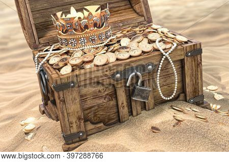 Open treasure chest full of golden coins on sandy beach. Wealth and treasure concept. 3d illustration