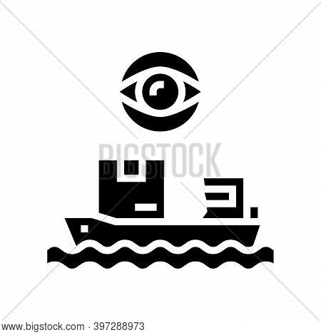 Ship Shipment Management And Control Glyph Icon Vector. Ship Shipment Management And Control Sign. I